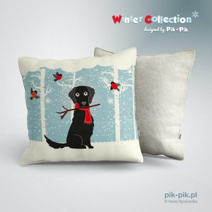 Poduszka Flat Coated Retriever Winter Collection