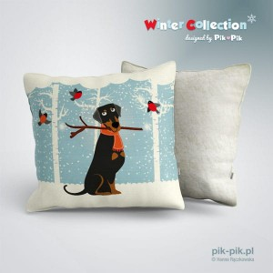 Poduszka Doberman- Winter Collection